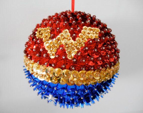 Wonder Woman Sequin Bead Ornament by teensyturtle on Etsy, $32.00
