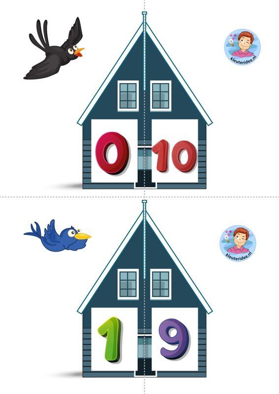 'Twee halve huizen aan elkaar, is precies 10 bij elkaar' Vrienden van 10 kleuteridee, free printable