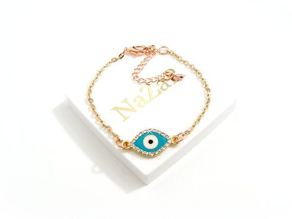 Blue Evil Eye Bracelet with Roségold Chain and Cubic Zirkonia Evil Eye Charm - Evil Eye bracelet arrives in a white gift box!