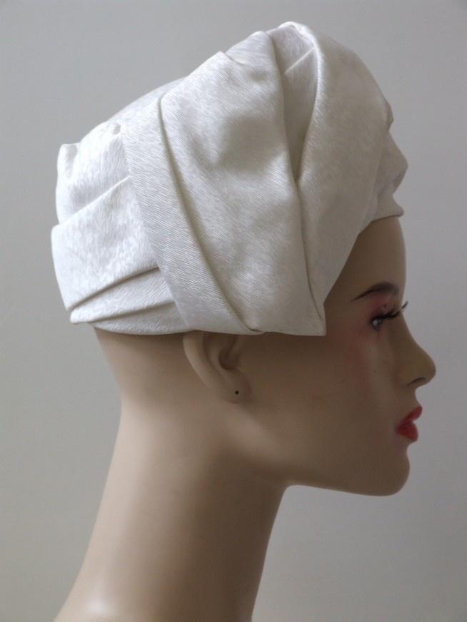 Vintage 60's witte tulband hoed - Hoeden - Accessoires - www.vivavintage.nl