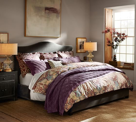 Angelina Reversible Duvet Cover & Sham | Pottery Barn (purple is Washed Velved/silk quilt in Fig Jam color king Quilt 369