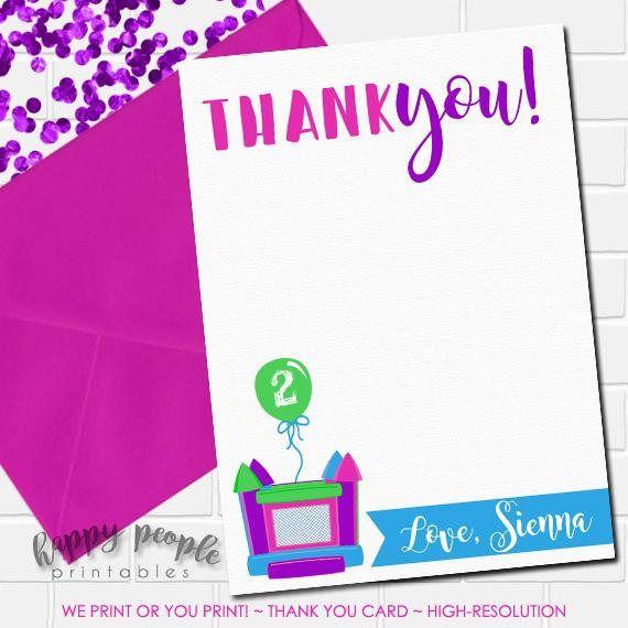 Girl Bounce House Thank You Card Bounce House Birthday Thank