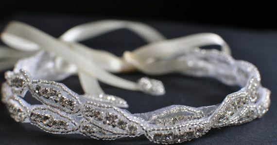 Double Beaded Trim in Silver Headbands - Wedding Headpiece - Ribbon - Crystal - Accessories - Bridal - Wedding - Rhinestone headband on Etsy, $39.95