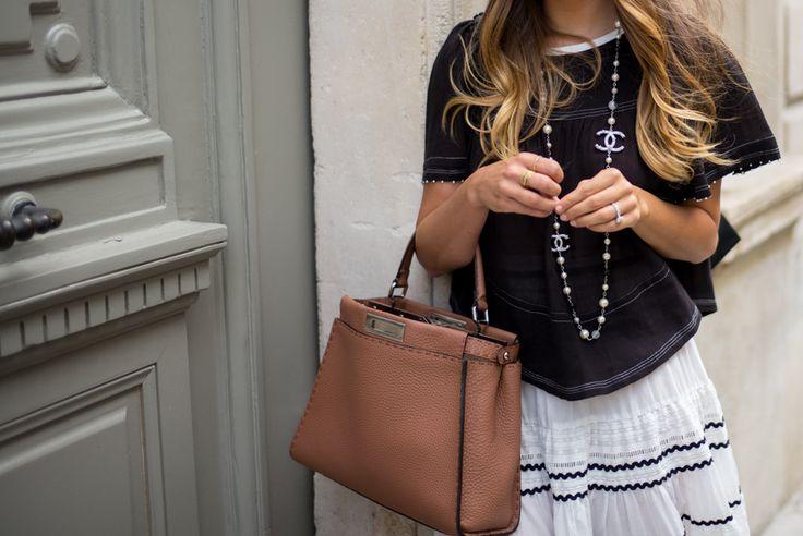 Gal Meets Glam - 2015 August 21 - Vintage Shopping in Paris - Location: Paris, France - Outfit Details: Isabel Marant Top, Maje Skirt, Chanel Espadrilles, Fendi Bag, Illeseteva Sunglasses, Vintage Chanel Necklace