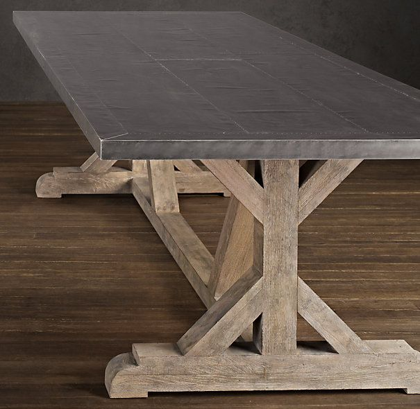 Restoration Hardware Railroad Tie Rectangular Dining Table - Zinc top with timber base