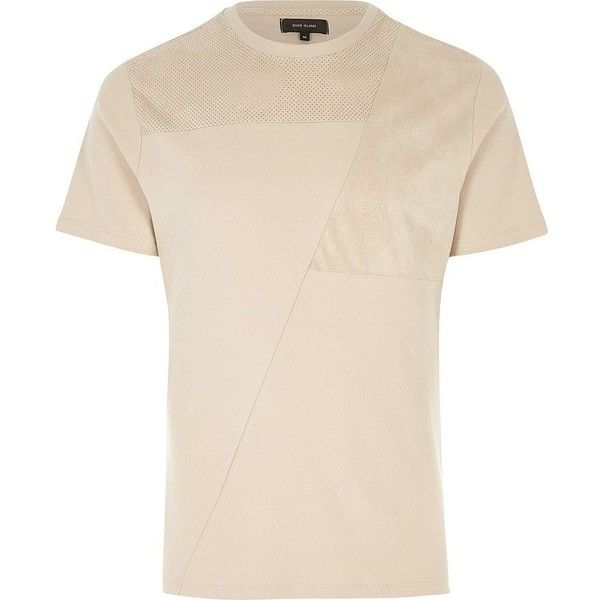 River Island Cream block mesh trim T-shirt (£10) ❤ liked on Polyvore featuring men's fashion, men's clothing, men's shirts, men's t-shirts, stone, mens cream dress shirt, mens short sleeve t shirts, mens short sleeve shirts, mens crew neck t shirts and mens tall t shirts