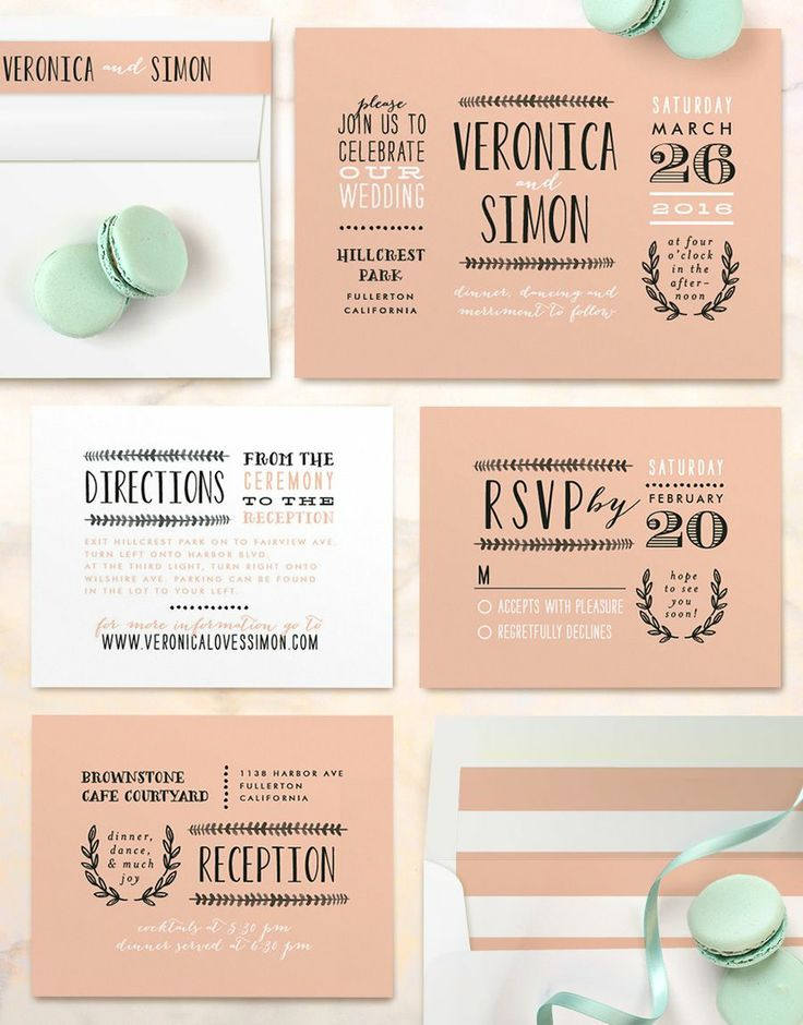 These super cute invites are just peachy! Love the stripes! Stationery Design: Minted --- http://www.minted.com/sem/wedding?utm_source=weddingchicksutm_medium=onlineadvutm_content=socialpinterestutm_campaign=Q2