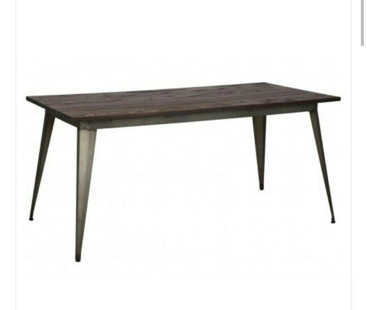 Tavolo industrial in legno di olmo e ferro