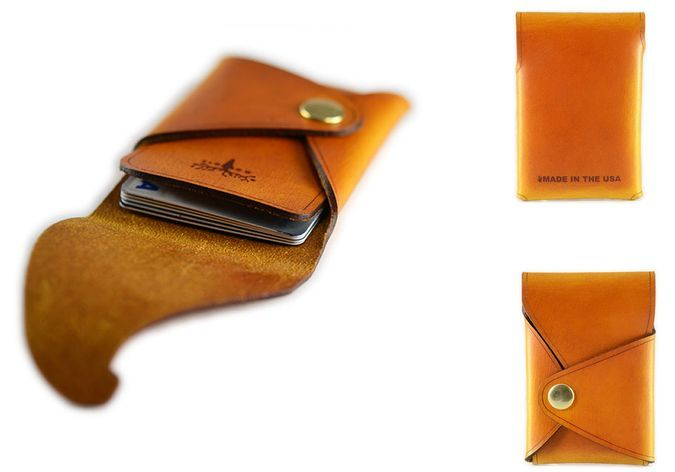 Hand-Crafted Stitch-Less Leather Rivet Card Holde