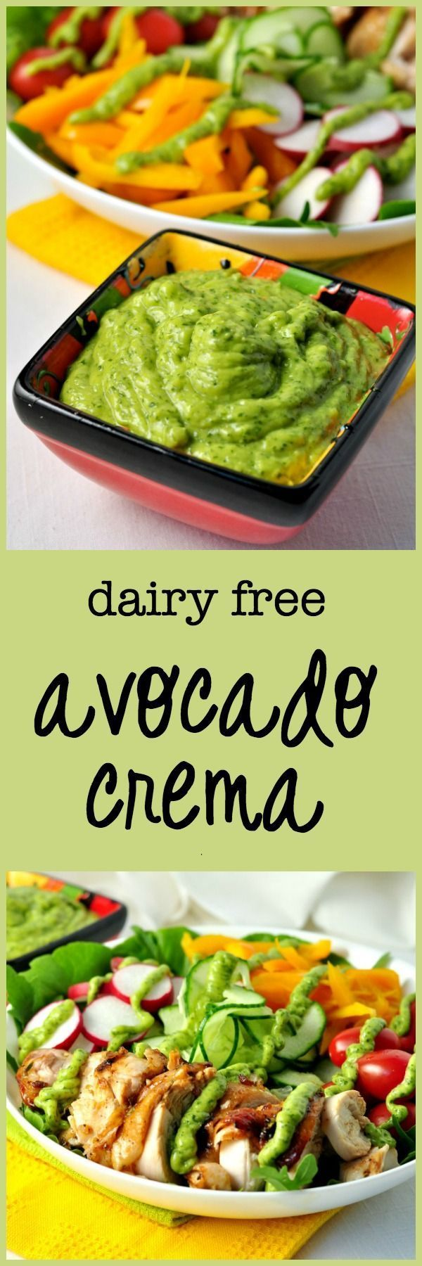 Use this Dairy-free Avocado Cream as a dip, as a dressing, a topping for tacos or burritos. Creamy without the cream.