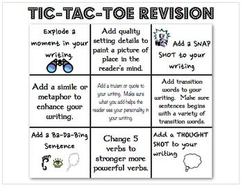 This Tic-Tac-Toe board is made to helps students work through the revision process on their own.  Students can choose three revision strategies in ...