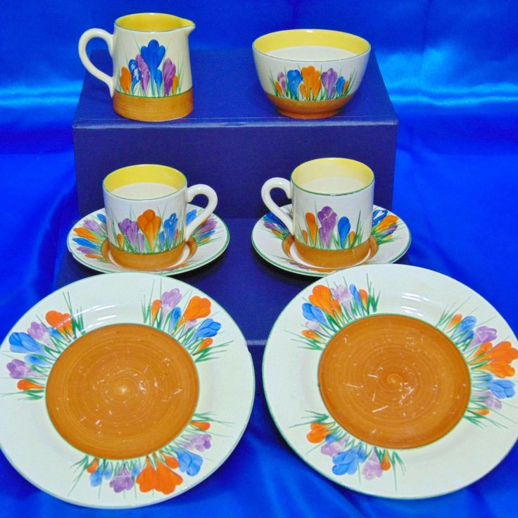 Clarice Cliff Coffee Can Set For Two - Circa 1930 from timeless-antiques on Ruby Lane