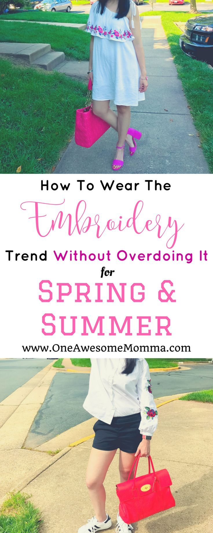 Are you wondering how to wear the embroidery trend without overdoing it for spring and summer? Check out these 2 summer outfits featuring embroidered button down shirt and embroidered one shoulder dress to give you outfit inspirations on how to wear this