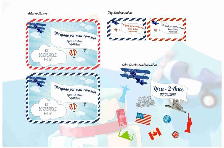 Adesivo Maleta Acrílica - Tema Avião Tag Lembrancinhas - Tema Avião Adesivos Sacola - Tema Avião
