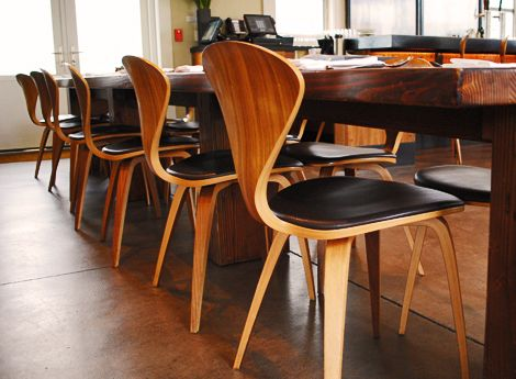 dining chairs from solage cherner side chairs paired w rustic wood dining table