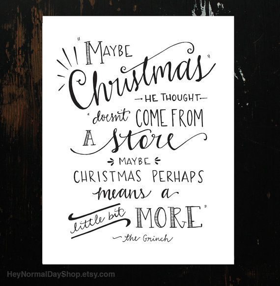 The Grinch Quote Hand-Lettering White by HeyNormalDayShop on Etsy