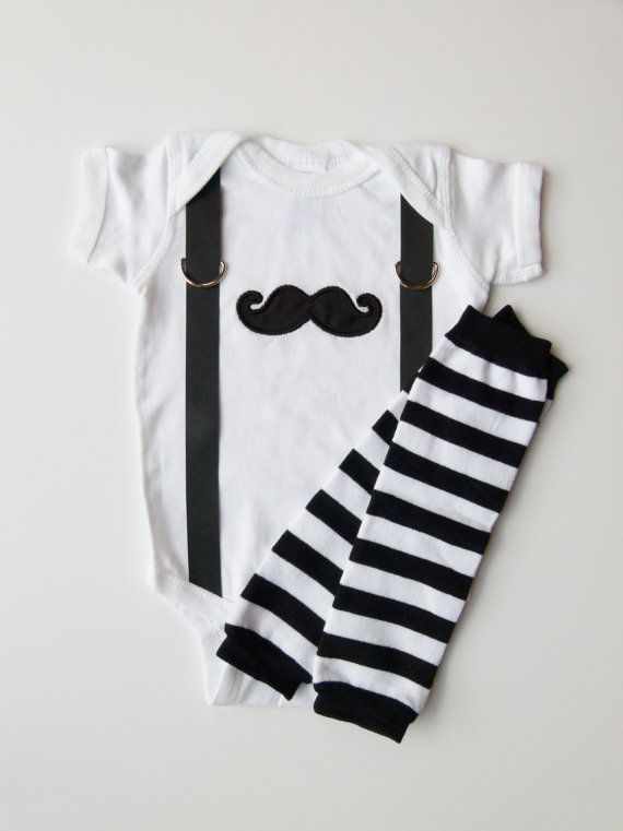 Mustache and Suspenders Baby Boy Onesie Leg Warmer by mamabijou, $33.00