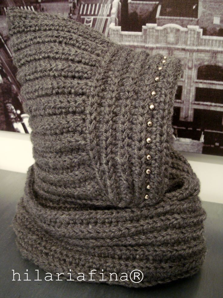 by hf Crochet Hooded Cowl. What do you think about the studs? ❥ 4U //