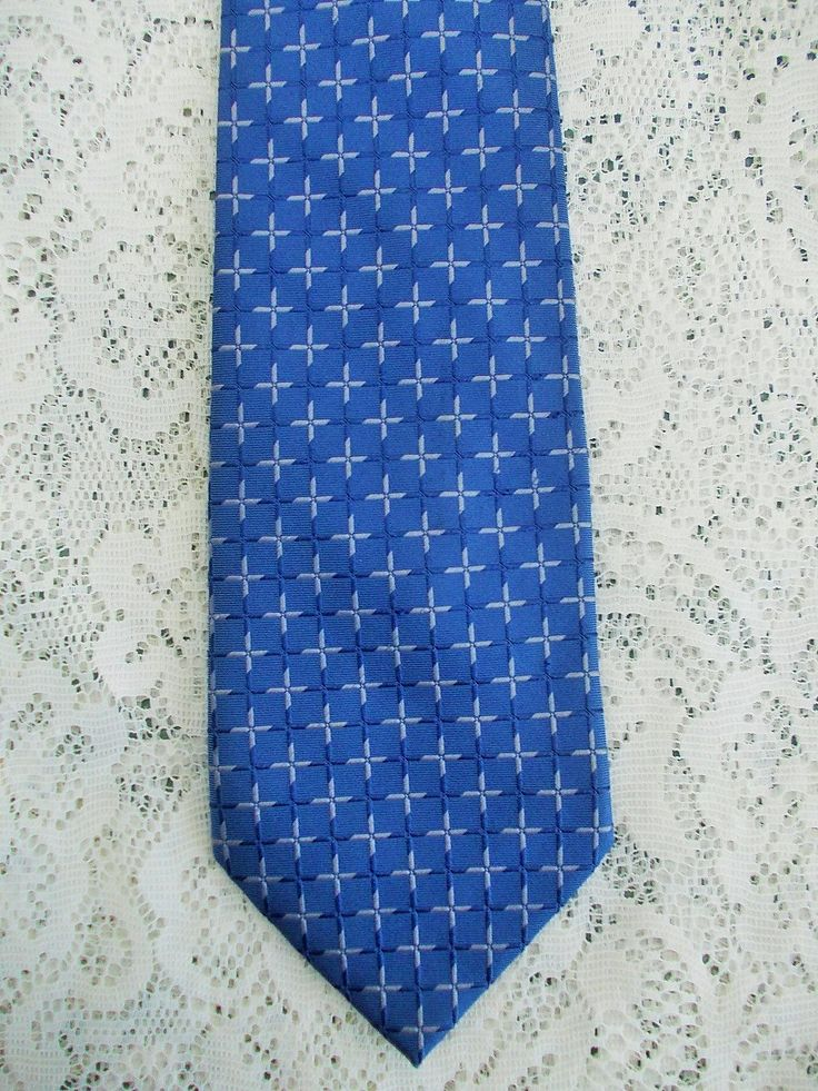 Pure Silk Necktie, Vintage Hardy Amies, Sky Blue Checkerboard, Made in Germany