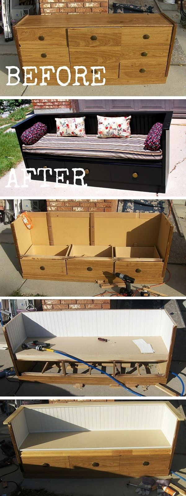 Try The Tutorial: #DIY An Outdated Dresser To A Bench Transformation #crafts…