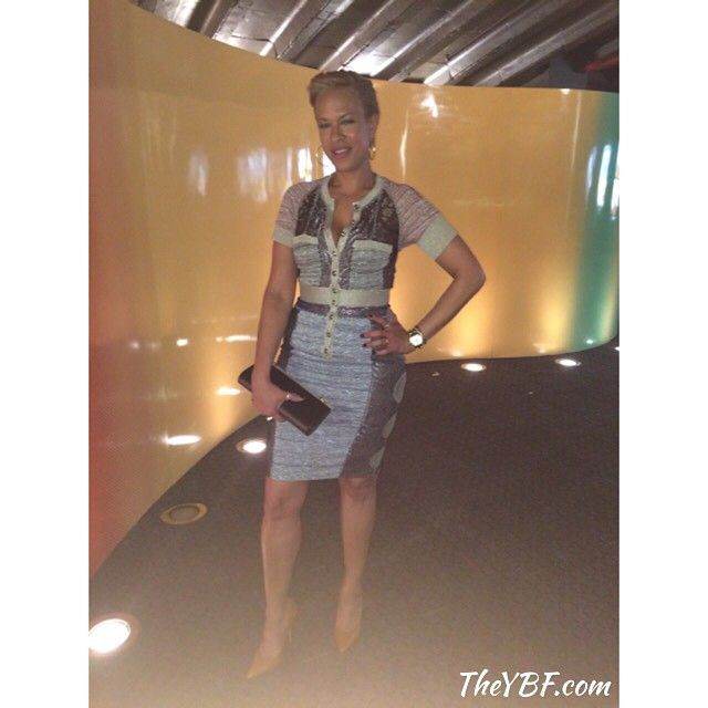 We caught up with #SpikeLee's wife #TonyaLewisLee looking gorge in a @byronlarsbm dress for the #DOPE premiere at #ABFF. #YBFOnTheScene
