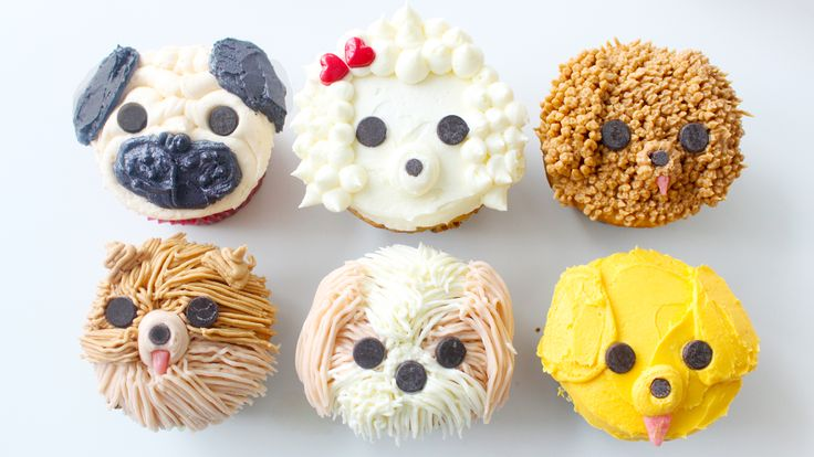 Recipe with video instructions: Real dog lovers would know how to pipe pug and poodle cupcakes, am I right?  Ingredients: cupcakes, buttercream (recipe at www.pankobunny.com), pink starburst, regular and mini-sized chocolate chips, red candies, for the poodle's bow