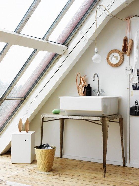 NANNA LAGERMAN FOR ELLE INTERIORLights, Bathroom Design, House Design, Interiors Design, Loft, Sinks, Attic Room, Windows, Design Home