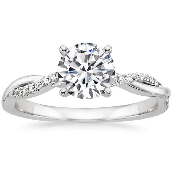Preset 18K White Gold Petite Twisted Vine Diamond Ring with 1 Carat Round Diamond from Brilliant Earth