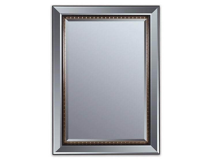Espejo biselado con marco negro y dorado