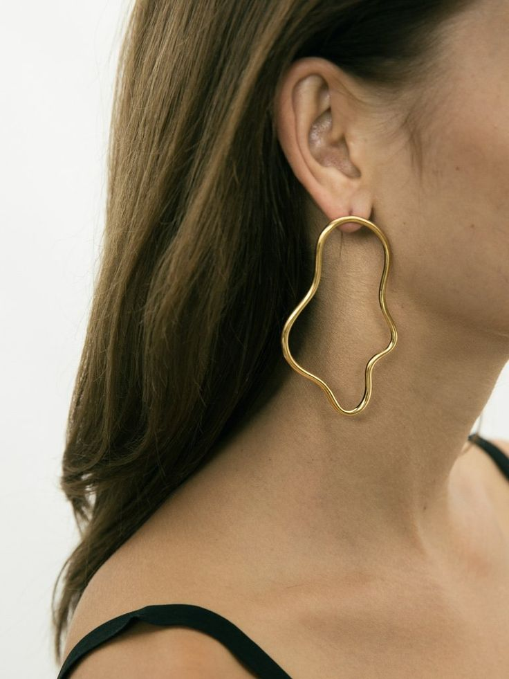 HOLLY RYAN | Exclusive Elongated Squiggle Earrings in Gold | The UNDONE by Holly Ryan
