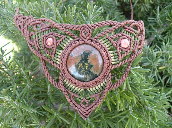 Rhyolite Jasper macrame choker This lovely tribal choker is created using the macramé technique. It is made by a high quality brown, green and khaki waxed thread and amazing Rhyolite Jasper cabochon. Also, we use a Agate beads to complete design. Waxed thread gives the product