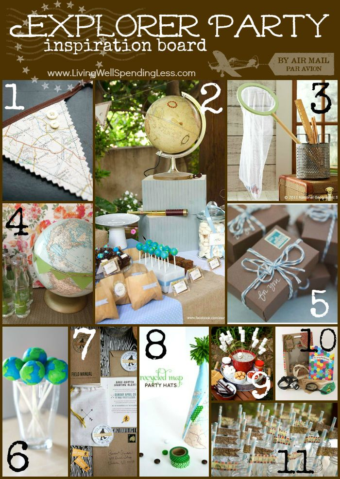 Explorer Party Inspiration Board.  Great ideas for a world explorer-themed birthday party.  Could work for either a girl or a boy!