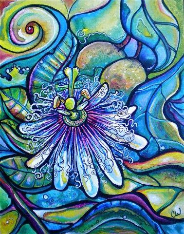 "Lilikoi Bloom     Flowering Lilikoi (passionfruit) plant  Acrylic on Canvas  11""x14"""