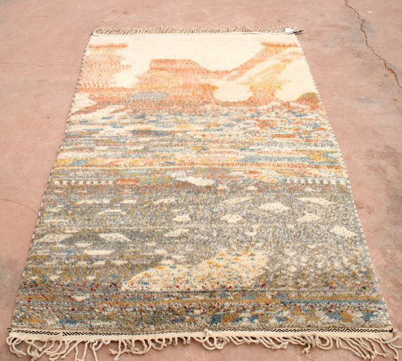 Designer Teppich, Wandteppich, Moderner Teppich Orange Beige Grau, Berber Teppich, Wollteppich, Natürlich Gefärbte Lammwolle Wandbehang