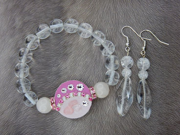 Bracelet and earrings, Swarovski, minerals, wedding, luxury#bracelet#earring#swarovski#crystal#leather fabric#pink#white#mineral#rondel#wedding#
