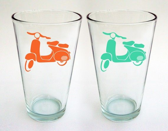 NEW  Vespa Pint Glasses  Set of 2 by modernmadness on Etsy, $18.00