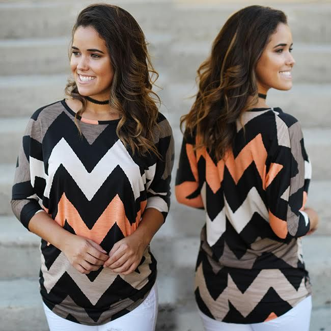 IT'S BACK! Your fave chevron top has been restocked and we are just excited as you are! Shop at savedbythedress.com