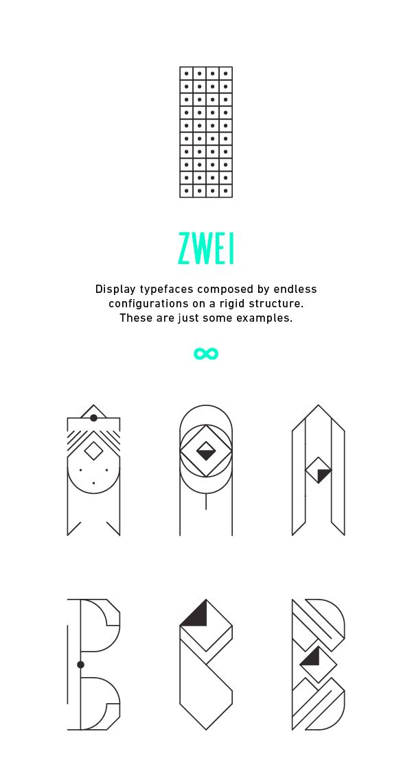 Display typefaces composed by endless configurations on a