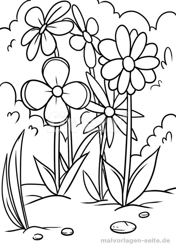Malvorlage Blumenwiese   Pflanzen   Blumen ausmalen ...