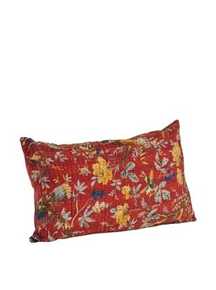 60% OFF Saro Lifestyle Red Printed Pillow with Kantha Stitches