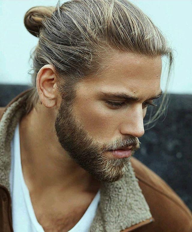 Bearded Man With Man Bun Growing Hair Men Beard Styles Long Hair Styles