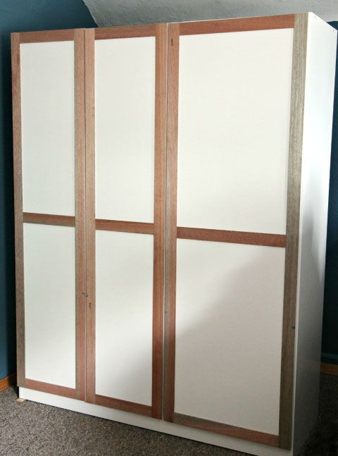 Ikea dombas armoire hack add wood detail to the front of for Ikea guardaroba dombas