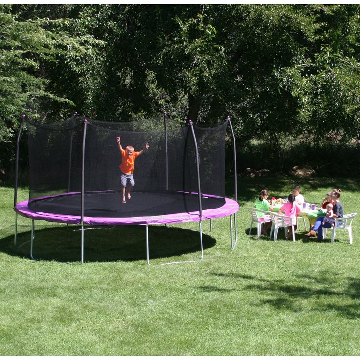 Skywalker 17 ft. Oval Trampoline with Safety Enclosure - Purple - SWTC17P11-BOX 1 OF 2