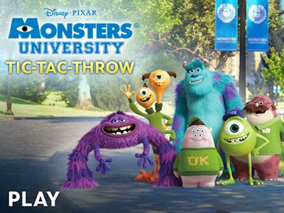 Monsters University - Tic Tac Throw. Disney games based on the new movie
