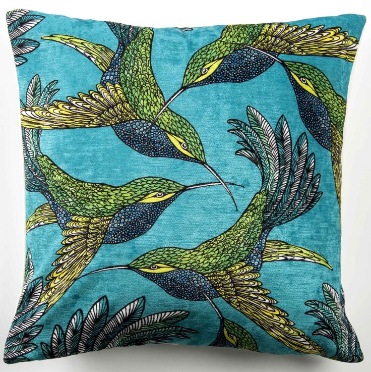 Arley House - Lorna Lucas Birds on Turquoise Cushion
