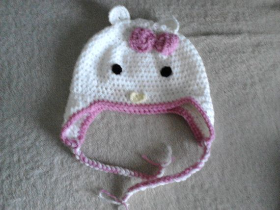hello Kitty girls hat & scarf age 5-7 by crochetfifi on Etsy