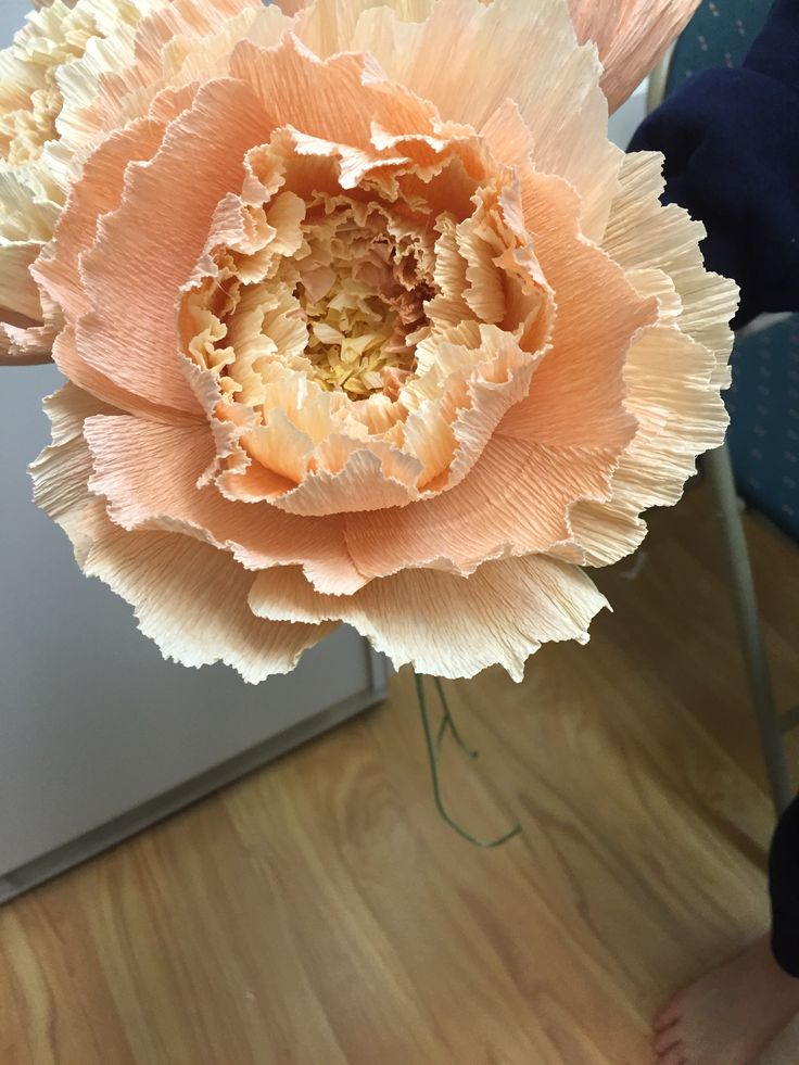 Crepe paper peony for wedding bouquet