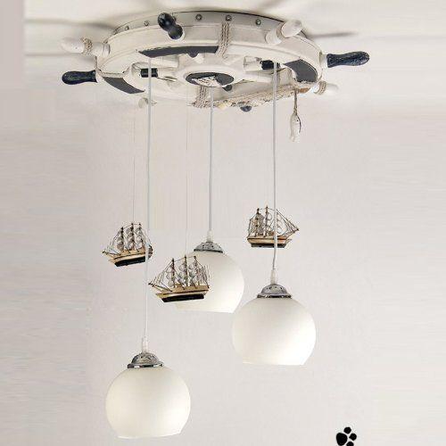 Amazon.com : Mediterranean Creative Retro Rudder Boat 3 Lights Children's Room Pendent Lights Children's Bedroom Lamp : Close To Ceiling Lig...