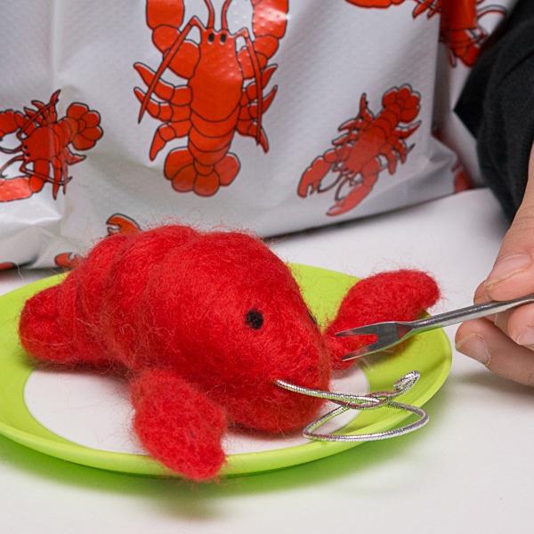 Available at the Designer Craft Shop: 1061 Marginal Rd. Halifax, Nova Scotia. Behind the Rail Car.   Atlantic Lobster – 3D Wool Charm Needle Felting DIY Kit by FELTasticFashion