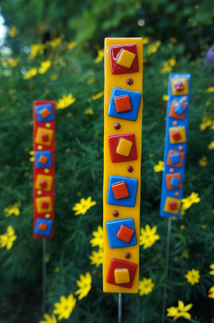 Garden Art Home Decor - Yellow Red Blue Orange Fused Glass Stake. $18.00, via Etsy.